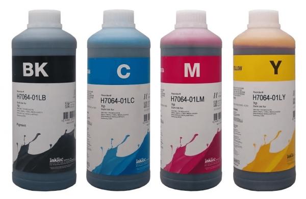 HP Dye refill inkt Inktec 1 liter flacons, set van 4 kleuren