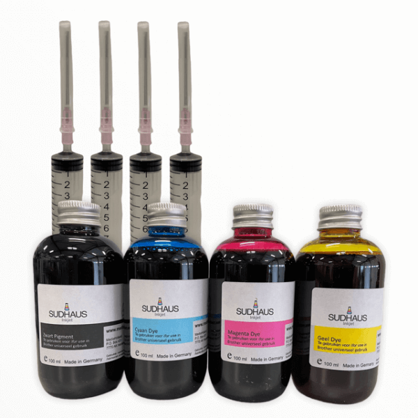 Pigment/Dye Refill Inkt universeel voor Brother Set 4 kleuren