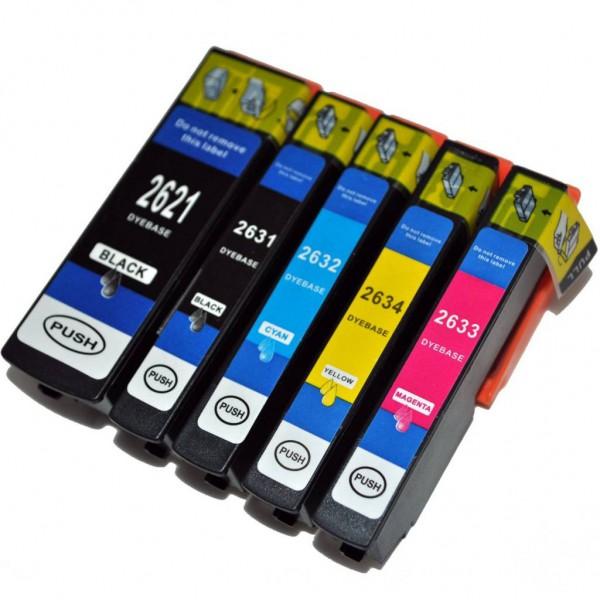 T2621-T2631-T2634 compatible inktpatronen 26XL set van 5 stuks