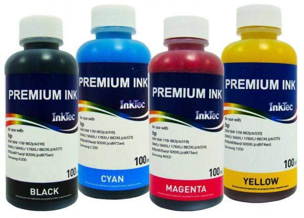 HP Dye/Pigment refill inkt Inktec 100 ml. flacon set van 4 kleuren