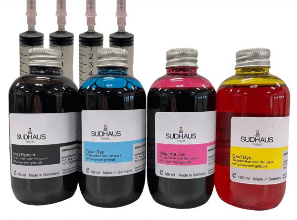 Pigment/Dye Refill Inkt universeel voor HP Set 4 kleuren