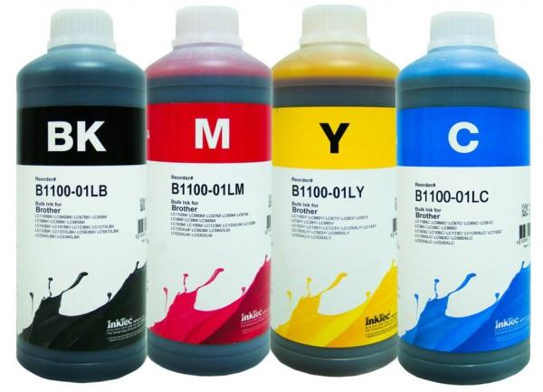 Brother Dye refill inkt Inktec 1 liter flacons, set van 4 kleuren