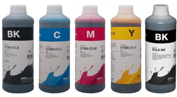 HP Dye/Pigment refill inkt Inktec 1 liter flacons, set van 5 kleuren