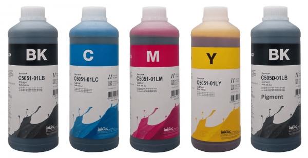 Canon Dye/Pigment refill inkt Inktec 1 liter flacons, set van 5 kleuren