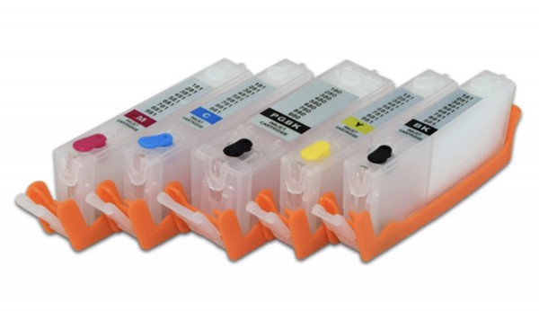 CLI-581/PGI-580 Hervulbare cartridges 5 stuks met OT chip