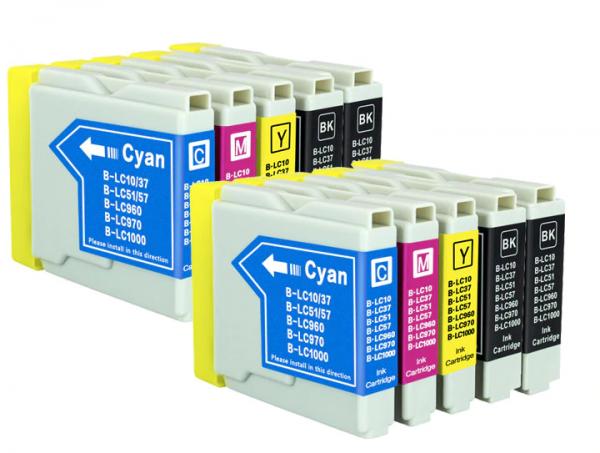LC1000/LC970 compatible inktpatronen Voordeelpack 10 stuks XL