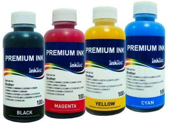 Brother Dye refill inkt Inktec 100 ml. flacon set van 4 kleuren