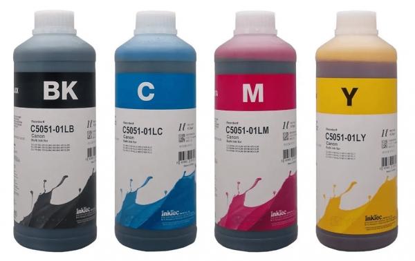 Canon Dye refill inkt Inktec 1 liter flacons, set van 4 kleuren