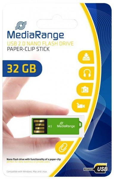 32GB MediaRange USB nano flash drive paper-clip MR977